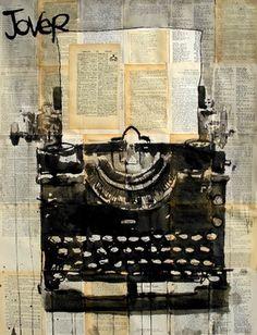 "Saatchi Online Artist Loui Jover; Drawing, ""typewriter"" #art"