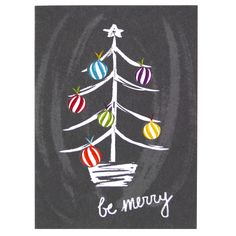 [ Christmas Tree Themes : Illustration Description Spread holiday cheer with this charming and chalky illustration of a brightly decorated tree. Christmas Rock, Christmas Tree Cards, Christmas Signs, Christmas Crafts, Christmas Decorations, Handmade Christmas, Chalkboard Drawings, Chalkboard Lettering, Chalkboard Designs