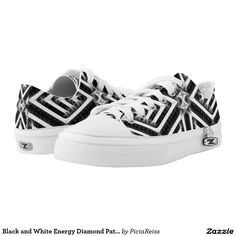 Black and White Energy Diamond Pattern Printed Shoes
