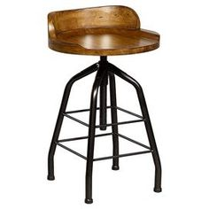 "Industrial-style stool with height-adjustable seat in hickory stick.  Product: StoolConstruction Material: Hickory veneers, select hardwood solids and metal Color: Hickory stickFeatures: Adjustable seat from 24"" to 30"" HDimensions: 24"" H x 18"" Diameter"