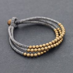 Handmade Nepal Brass Beads Cord Wax Friendship Bracelet