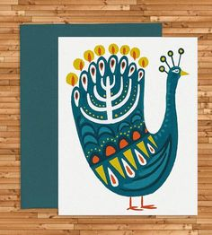 Hanukkah Peacock Holiday Cards, Set of 8 by Idlewild Co. on Scoutmob