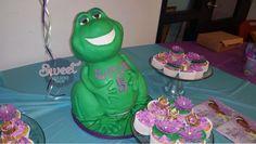 Princess and the frog cake. Prince Naveen cake. Frog cake. Vanilla cake with bubblegum buttercream. wedding cake, birthday cake, custom cake, baby shower cake