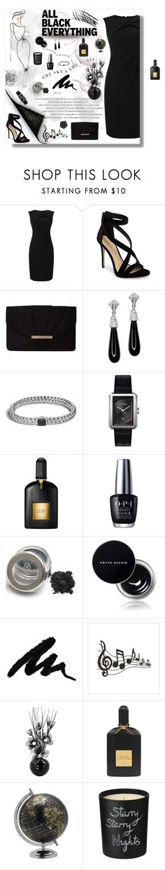 """""""All Black Everything"""" by ljano ❤ liked on Polyvore featuring Adrianna Papell, Imagine by Vince Camuto, Dorothy Perkins, Kenneth Jay Lane, John Hardy, Chanel, Tom Ford, OPI, Kevyn Aucoin and Elements"""