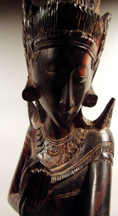 Balinese Ebony Wood Carved Sita in the Mouth of the Demon King Dutch East Indies, True Beauty, Vintage Home Decor, Beautiful Hands, Hand Carved, Sculptures, Demon King, African, Half Price