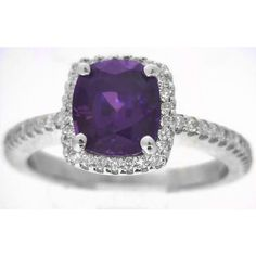 Cushion Cut Purple Sapphire Engagement Ring in 14k white gold... ($2,799) ❤ liked on Polyvore featuring jewelry, rings, cushion cut engagement rings, sapphire ring, white gold jewellery, purple engagement rings and purple jewelry