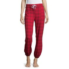 Honeydew Intimates Women's Snooze Button Jogger Pants ($48) ❤ liked on Polyvore featuring pants, ravishing plaid, tartan trousers, red trousers, cuff pants, red jogger pants and red tartan pants