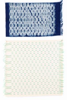 Shibori is a term for shaped-resist dyeing, a process by which a flat piece of cloth is shaped by folding, stitching, tying, or wrapping and then secured before dyeing. Woven shibori is a process of weaving and resist developed by shibori artist, Catharine Ellis, and taught in her book, Woven Shibori (Interweave, 2005). Using these blanks, designed by Ellis and woven at The Oriole Mill in North Carolina, you don't even have to weave in order to work with this technique.