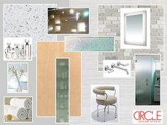 Bright master bath, frosted glass, iridescent tile, blonde wood, stained glass