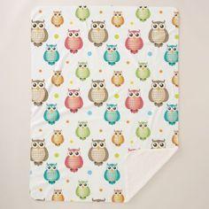 Cute Owls Pattern Sherpa Blanket - patterns pattern special unique design gift idea diy