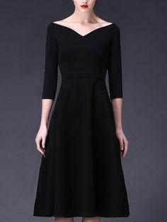 Shop Midi Dresses - Vintage 3/4 Sleeve A-line Shirred V neck Midi Dress online…