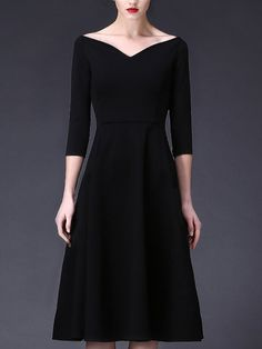 Shop Midi Dresses - Vintage 3/4 Sleeve A-line Shirred V neck Midi Dress online…