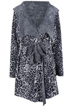 Grey Hooded Long Sleeve Leopard Belt Coat US$40.98