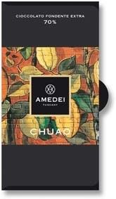 Chuao, 70% dark chocolate bar by Amedei, Amedei once had world exclusive rights to the highly prized Chuao cocoa bean from which this Chuao, 70% single origin chocolate bar is created. Now only a few of the world's finest chocolate makers, including Pralus, use the expensive Chuao cocoa for their chocolate due to its high price.  The Amedei Chuao chocolate bar is classed as Single origin and Single Variety chocolate.