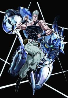 Jean Pierre Polnareff - Silver Chariot [In appearance, it looks like a thin, robotic humanoid clad in medieval armor, armed with a rapier. It is able to appear in multiple places at once, due to moving at a speed faster than the human eye can comprehend. launches his sword with great force and precision, capable of reflecting off objects and striking with enough force to pierce a human body.  It is capable of seeing, and slicing through, a bullet]