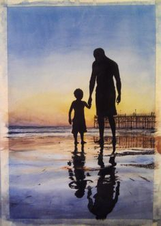 father and son watercolor Father Son Tattoo, Father Tattoos, Tattoo For Son, Dad Tattoos, Crafts With Pictures, Pictures To Draw, Pictures Images, Father And Baby, Daddy And Son