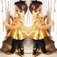 Buy Baby Girl Suit Shirt Dress + Leggings Pants Casual Short Sleeved 2 Pieces at Wish - Shopping Made Fun