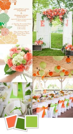 Coral and green outdoor wedding ideas for spring and summer