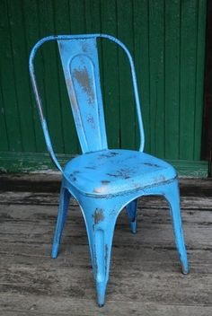 Blue Metal French Cafe Chair - New Distressed Blue - Vintage/ Retro Tolix Style | eBay UK  | eBay.co.uk