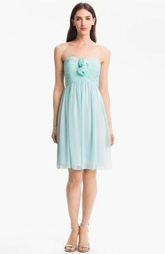 Donna Morgan Strapless Rosette Detail Chiffon Dress | Nordstrom