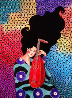 Por amor al arte: Hülya Özdemir Watercolor Artwork, Watercolor Illustration, Canvas Artwork, Female Portrait, Portrait Art, Frida Art, Painting People, Art Girl, Fantasy Art
