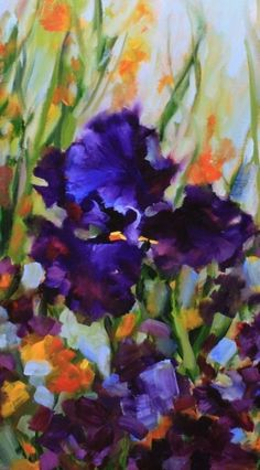 Iris Blues Purple Flower Painting and New Workshops by Texas Artist Nancy Medina, painting by artist Nancy Medina