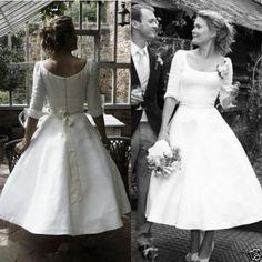 Cool Amazing 2017 Vintage Tea Length A Line Short White Wedding Dress Mini Bridal Gown Custom Tea Length Wedding Dress, White Wedding Dresses, Bridal Dresses, Wedding Gowns, Confirmation Dresses, Half Sleeve Dresses, Vintage Bridal, Vintage Tea, Little White Dresses