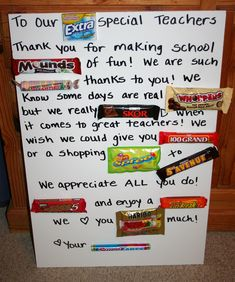 A creative teacher gift---like the idea of the bars in a basket or bucket with a note attached.