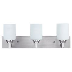 Canarm Carmen Brushed Pewter Three Light Energy Star Bath Light With White Line Painted Glass Bathroom Wall Lights, Bathroom Vanity Lighting, Contemporary Vanity, Residential Lighting, Wall Mounted Vanity, Incandescent Light Bulb, Outdoor Light Fixtures, Kitchen Pendants, Bath Light