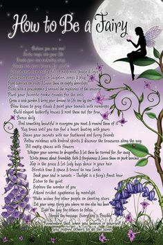 Picture of Purple Flowers & a Fairy in the Moonlight:  How To Be a Fairy...