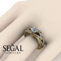 Flower Engagement Ring by Segal Jewelry Unique Diamond Engagement Rings, Classic Engagement Rings, Alternative Engagement Rings, Beautiful Engagement Rings, Diamond Rings, Solitaire Rings, Engagement Ring Buying Guide, Shop Engagement Rings, Designer Engagement Rings