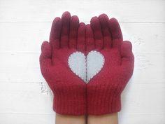via en.dawanda.com Gloves & more – Christmas Gift, Heart Gloves, Burgundy, Xmas Gift – a unique product by Yastikizi on DaWanda