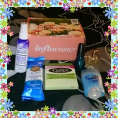 My #BloomVoxBox of great products I received complimentary from #influenster for testing purposes. #socutex #healthynails #plump4joy #nuxeus #sunbeltbakery #outlastxtend #sckjdenim #sinfulcolors  #beauty #food #nails #hair #deodorant #cutex #notyourmothers #nuxe #sunbelt #secretdeodorant #sinful #influenstervoxbox