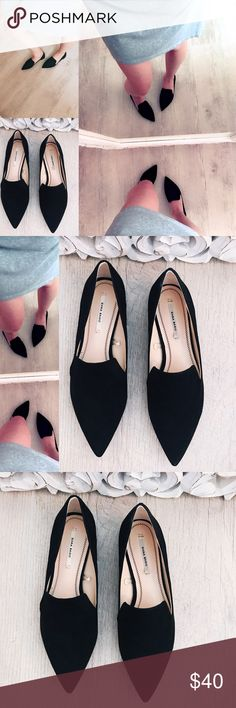 ZARA BASIC pointed black metal toe flats From the Zara Basic Collection! These on trend shoes are perfect for your wardrobe!! Casual but classy! ✔️ wear with jeans or a pencil shirt! Suede, size 36 (6) noting flaws~ very mild bottom sole wear, minimal insole wear, back of left shoe has mild wear seen in photo. (Very hard to tell thanks to the black in color) ;) offers welcome✌no trades thank you Zara Shoes Flats & Loafers
