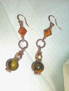 Autumn Beads And Copper Earrings- Shades of Fall -Handmade Copper Earrings Orange Earrings Green Brown Golden Yellow Dangle Earrings by UnikButikJewelry on Etsy