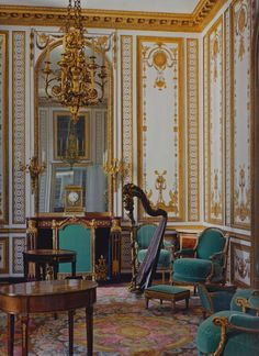 Marie Antoinette's music room, the Gold Room, as redecorated in 1783