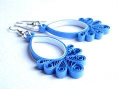 Unique Blue Earrings / Women's Jewelry / Handmade Dangle Earrings / Quilled Paper Jewelry / Bridal Jewelry