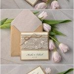 Rustic Twine Pocket Fold Eco Linen Lace Wedding Invitation