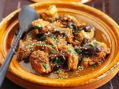 Meat stew with eggplant confit-Ragoût de viande au confit d?aubergines Meat stew with eggplant confit - Tajin Recipes, Tagine Cooking, Goat Recipes, Tunisian Food, Cooking Dishes, Eastern Cuisine, Middle Eastern Recipes, Eat Smarter, Garam Masala