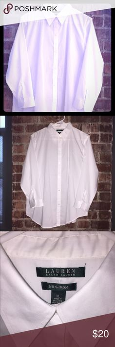 "RALPH LAUREN button down shirt - no iron Like new condition, only worn once! Great fitting, classic white button down shirt.  Convenient ""no iron"" fabric.  Looser fit, accommodates large chests (tested and approved 👍🏻).  Great addition to any professional wardrobe. Ralph Lauren Tops Button Down Shirts"