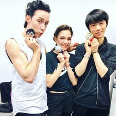 Johnny, Evgenia, and Yuzuru as Yuri on Ice characters