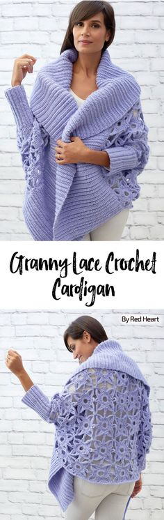 Granny Lace Crochet Cardigan free crochet pattern in Dreamy yarn.