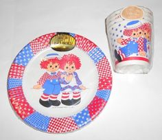 Raggedy paper plates and cups, 1974