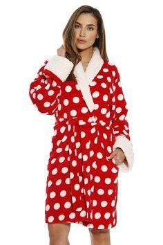 Sherpa Trim Plush Robe for Women - Polka Dot - Red - CA17YQTINR9 4fa8fb471