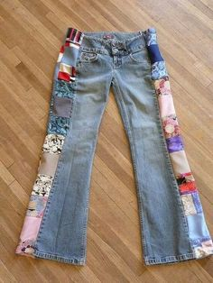 Patchwork Jeans Handmade Pants Unique by hippiehousedesignsPatchwork Jeans Handmade Unique Clothing Recycled I remember thePatchwork Jeans Handmade Unique Clothing this would be good for when you find a great pair of jeans at a yard sale, but they're Diy Clothes Refashion, Diy Clothing, Sewing Clothes, Unique Clothing, Recycled Clothing, Revamp Clothes, Sewing Pants, Unique Clothes For Women, Blue Jeans