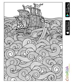 Sea Colouring Page Adult Coloring Book