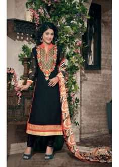 Party wear Black Georgette Salwar suit - 2004