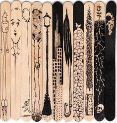 Illustrations done on Popsicle sticks. Usually after dessert after dinner. Quite often while watching Sex and the City reruns. drawing for school Popsicle Sticks Art Club Projects, High School Art Projects, Art School, Middle School Art, Art Classroom Layout, Classroom Organization, Classroom Management, Popsicle Stick Art, Art Assignments