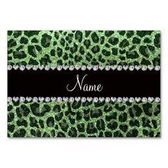 Custom name light green glitter leopard print