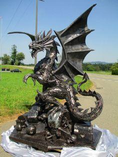 dragon statue sculpture figure, life size scrap metal art  --  scrap-metal-art-thailand.com